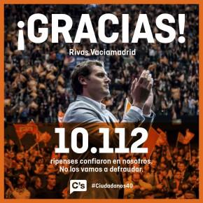 Ciudadanos (C's) segunda fuerza en Rivas-Vaciamadrid en las Elecciones Generales del 20D