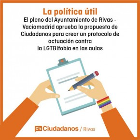 Ciudadanos (C's) Rivas-Vaciamadrid consigue que se apruebe la creación de un protocolo para luchar contra el acoso al colectivo LGTBI en las aulas